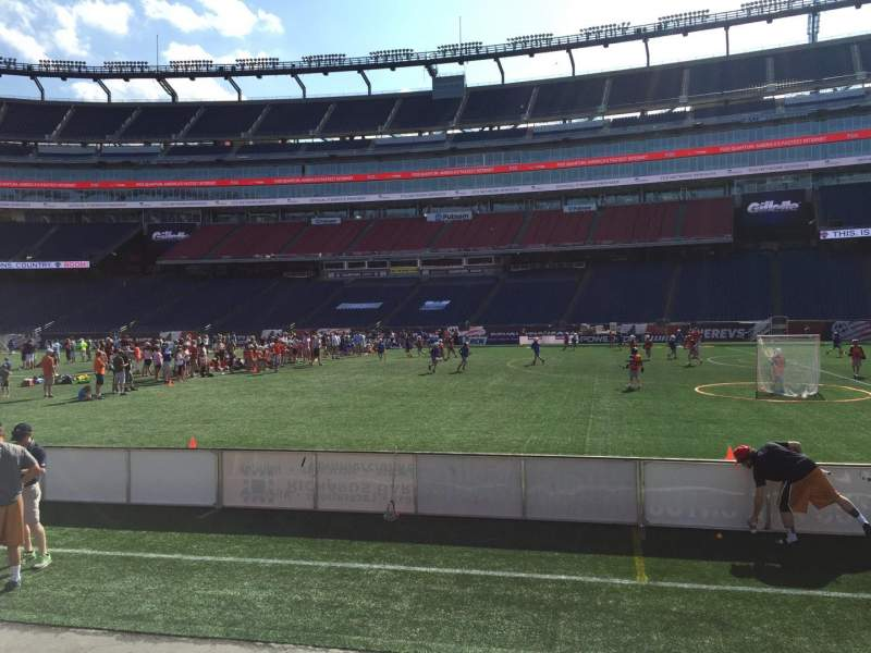 Seating view for Gillette Stadium Section 107 Row 1 Seat 12