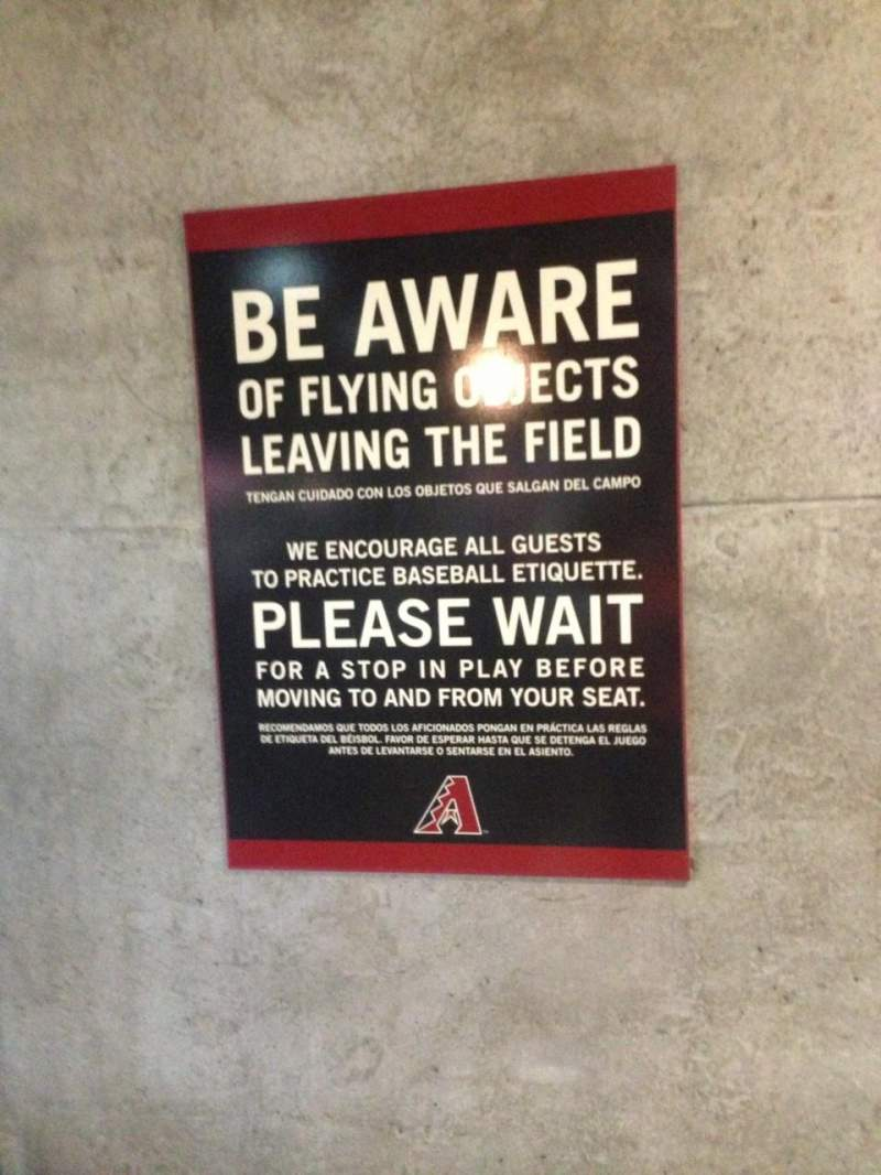 Seating view for Chase Field Section Lower Level Concourse