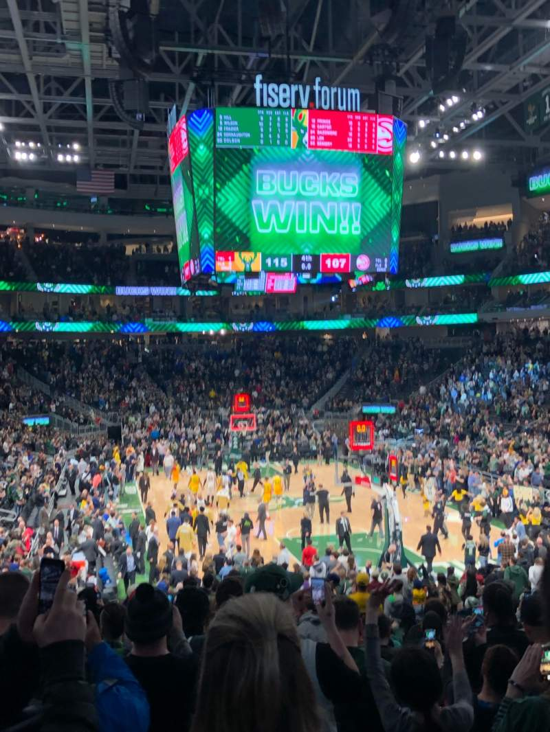 Seating view for Fiserv Forum Section 113 Row 20 Seat 9