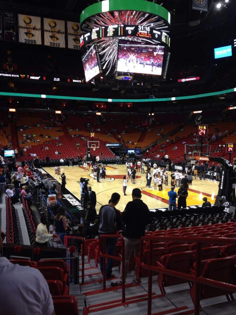 Seating view for American Airlines Arena Section 102 Row 15 Seat 1