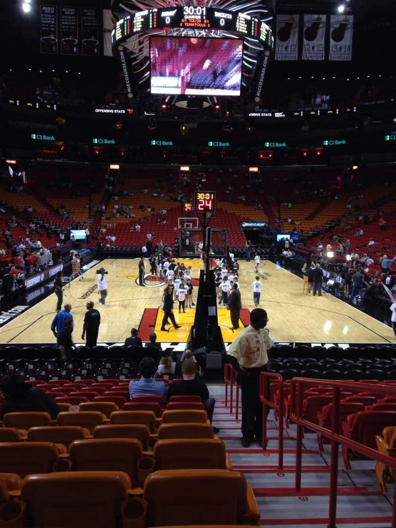Seating view for American Airlines Arena Section 101 Row 16 Seat 1