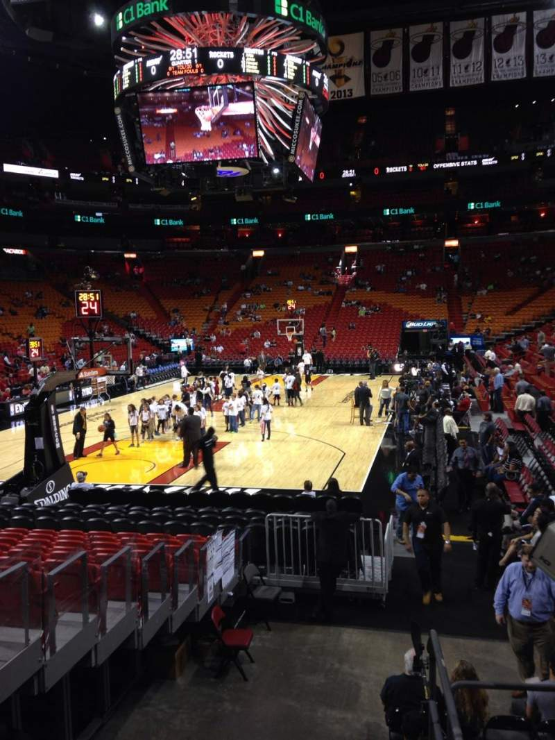 Seating view for American Airlines Arena Section 124 Row 1 Seat 2
