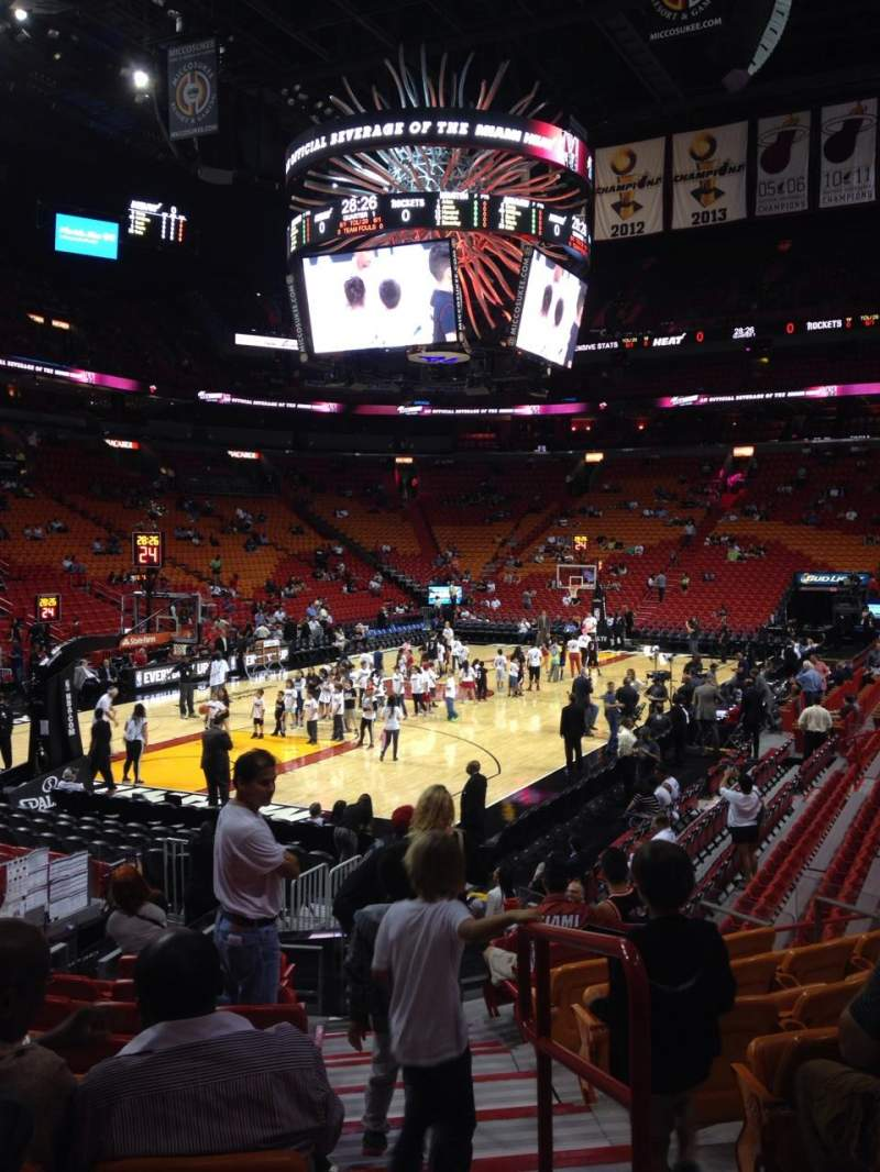 Seating view for American Airlines Arena Section 123 Row 16 Seat 1