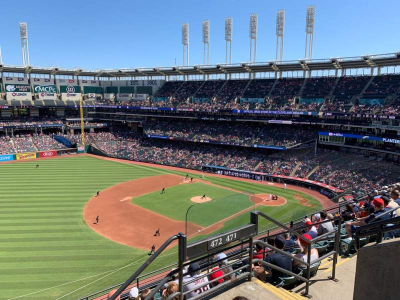 Seating view for Progressive Field Section 472 Row D Seat 7