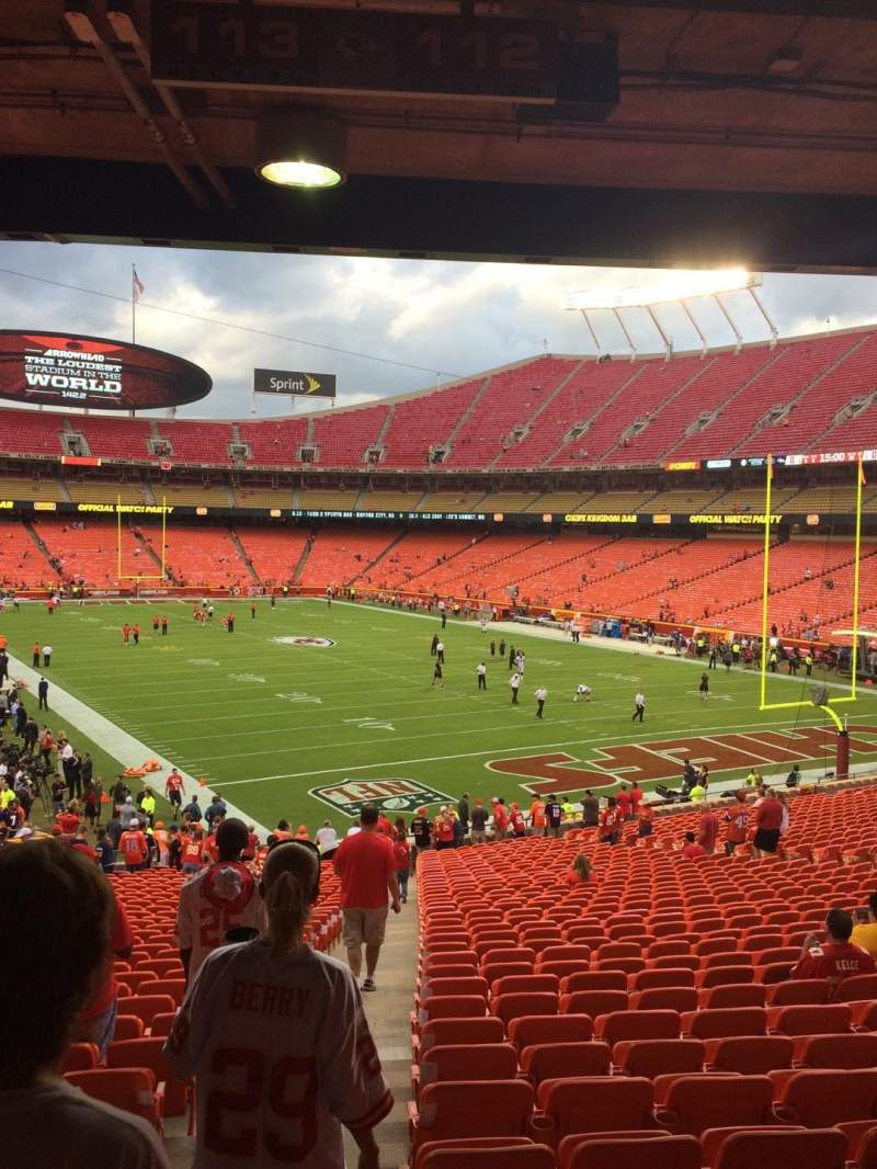 Seating view for Arrowhead Stadium Section 112 Row 36 Seat 27