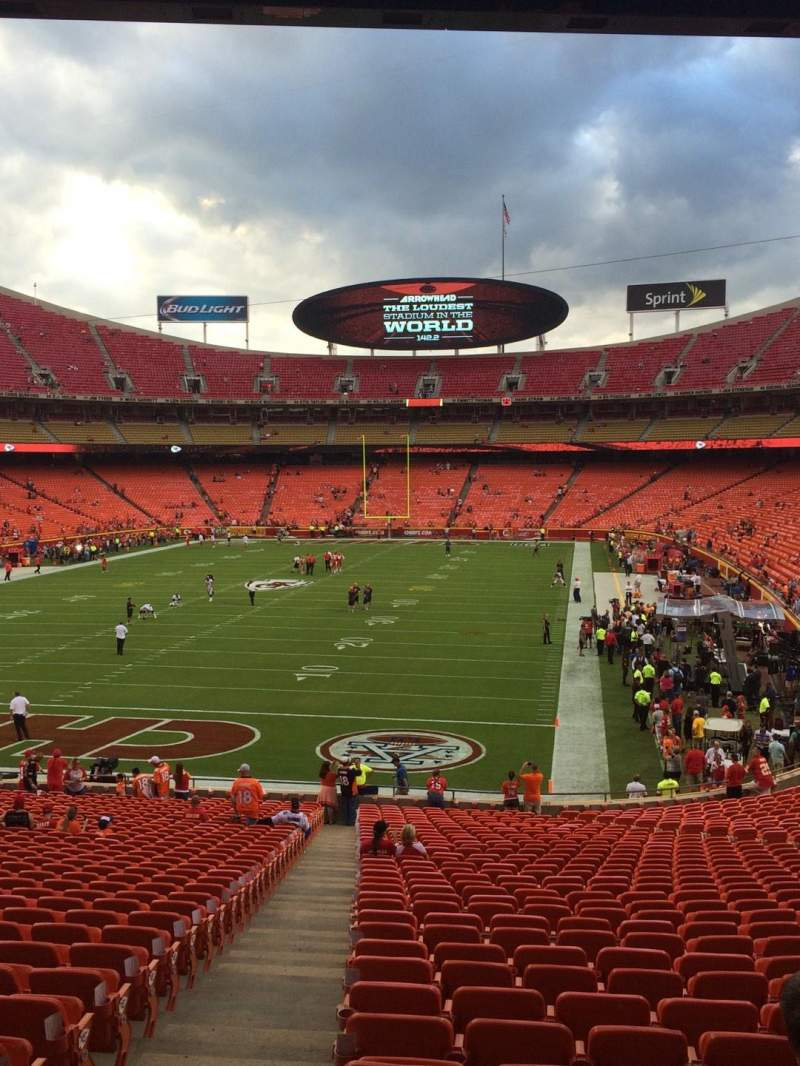 Seating view for Arrowhead Stadium Section 103 Row 36 Seat 2