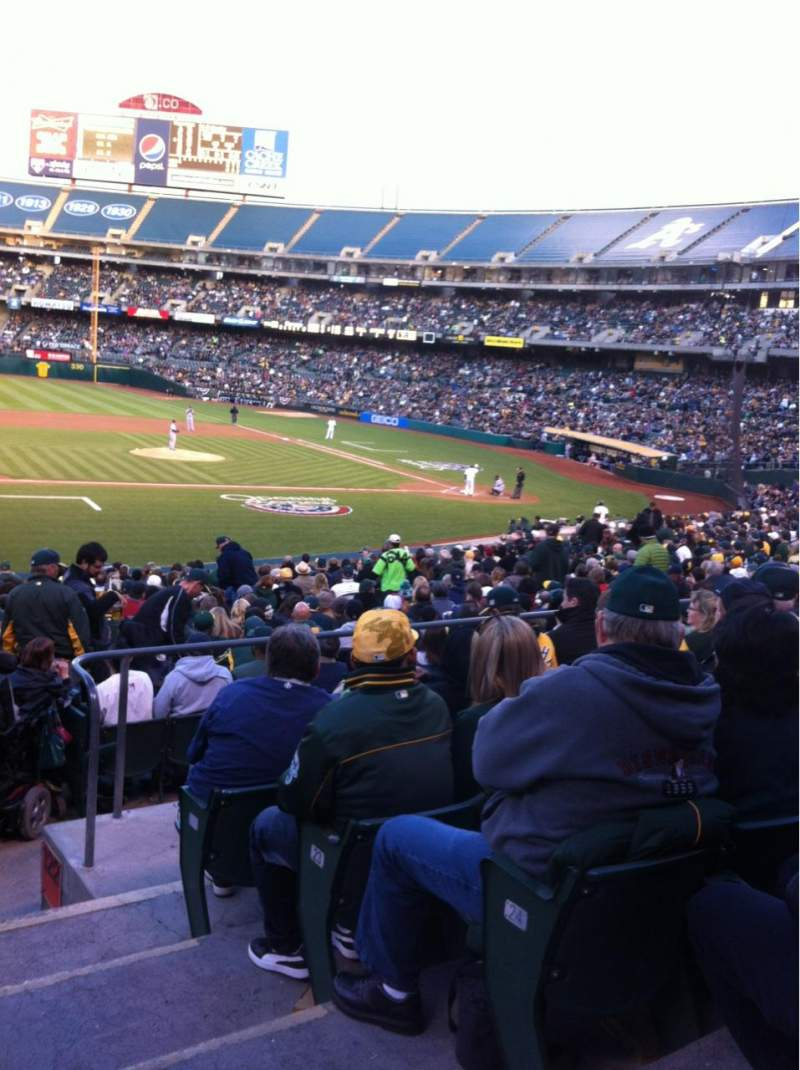 Seating view for Oakland Alameda Coliseum Section 123 Row 26 Seat 1