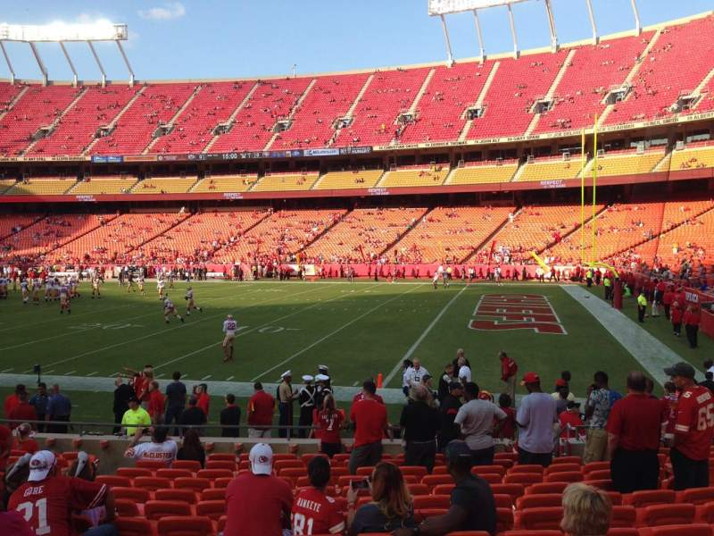 Seating view for Arrowhead Stadium Section 114 Row 14 Seat 12