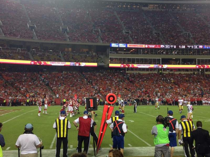 Seating view for Arrowhead Stadium Section 104 Row 3 Seat 9