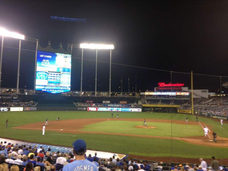 Seating view for Kauffman Stadium Section 124 Row V Seat 1