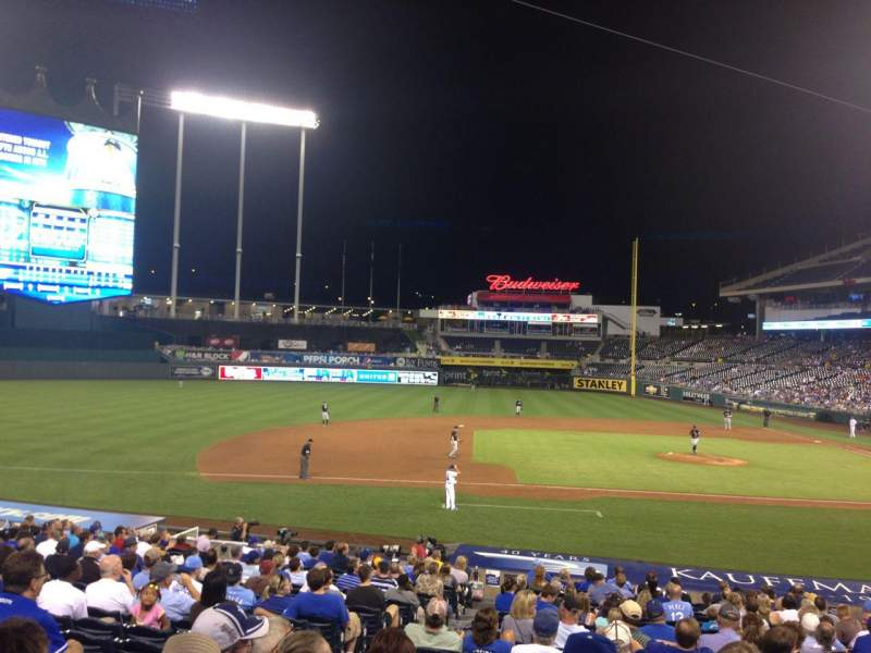 Seating view for Kauffman Stadium Section 120 Row X Seat 4