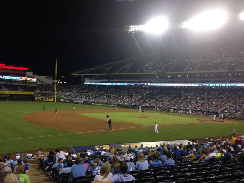 Seating view for Kauffman Stadium Section 115 Row X Seat 12