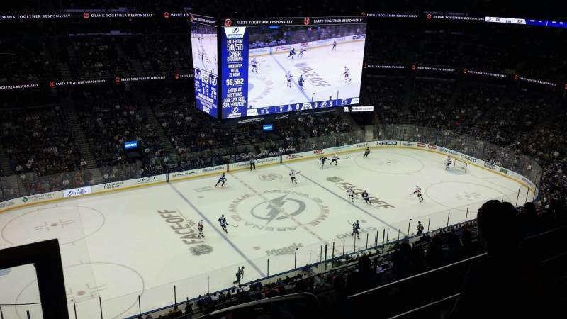 Seating view for Amalie Arena Section 318 Row H Seat 22