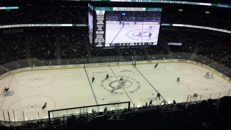 Seating view for Amalie Arena Section 303 Row M Seat 1