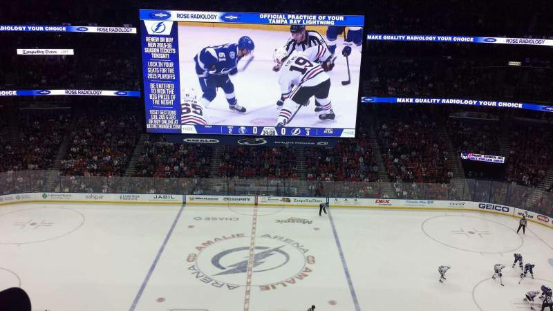 Seating view for Amalie Arena Section 301 Row B Seat 7