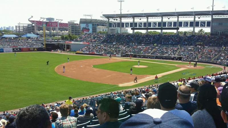 Seating view for George M. Steinbrenner Field Section 220 Row P Seat 12