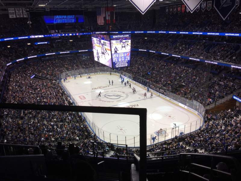 Seating view for Amalie Arena Section 310 Row H Seat 22