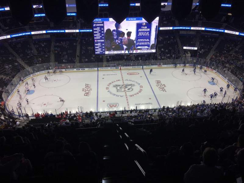Seating view for Amalie Arena Section 301 Row T Seat 25