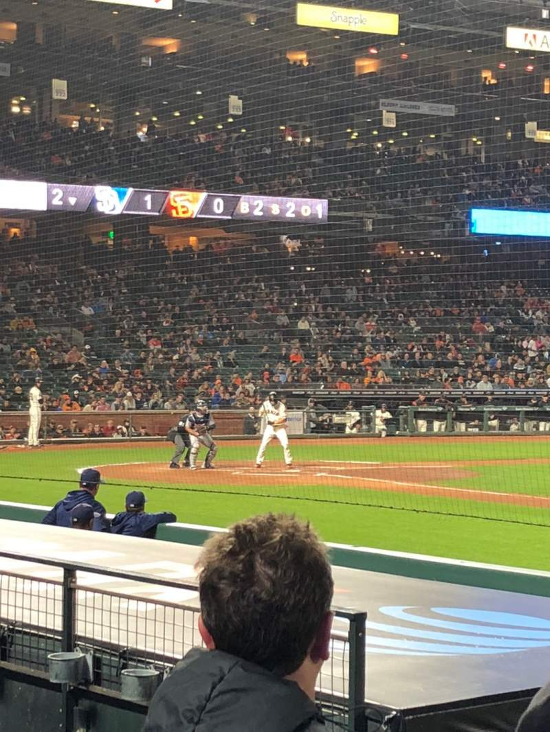 Seating view for Oracle Park Section PFC107 Row E Seat 4