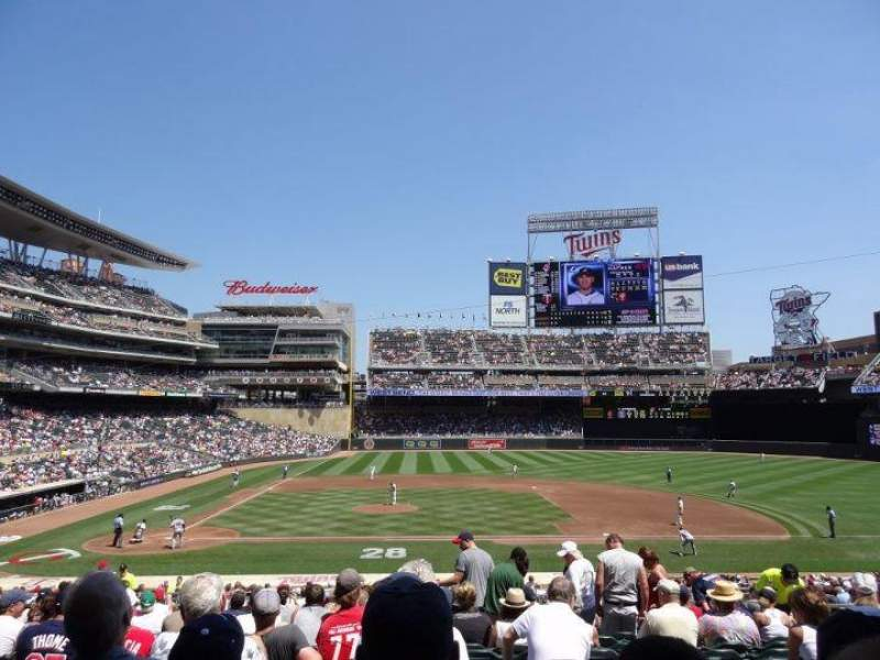 Seating view for Target Field Section 109 Row 17