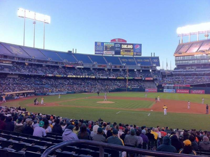 Seating view for Oakland Alameda Coliseum Section 111R Row 22 Seat 17
