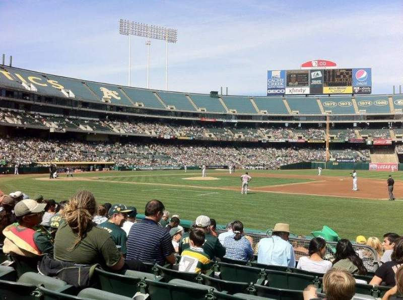 Seating view for Oakland Alameda Coliseum Section 110 Row 8 Seat 7