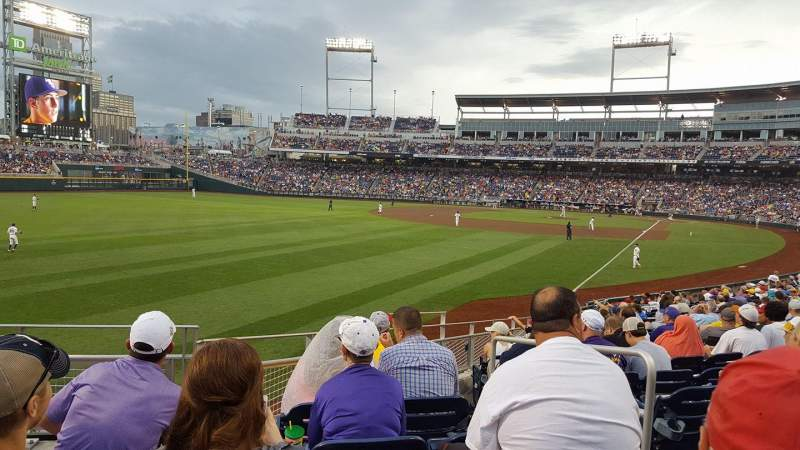 Seating view for TD Ameritrade Park Section 124 Row 21 Seat 1