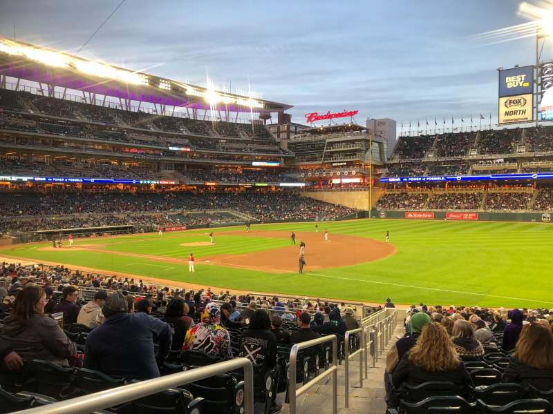 Seating view for Target Field Section 104 Row 32 Seat 22