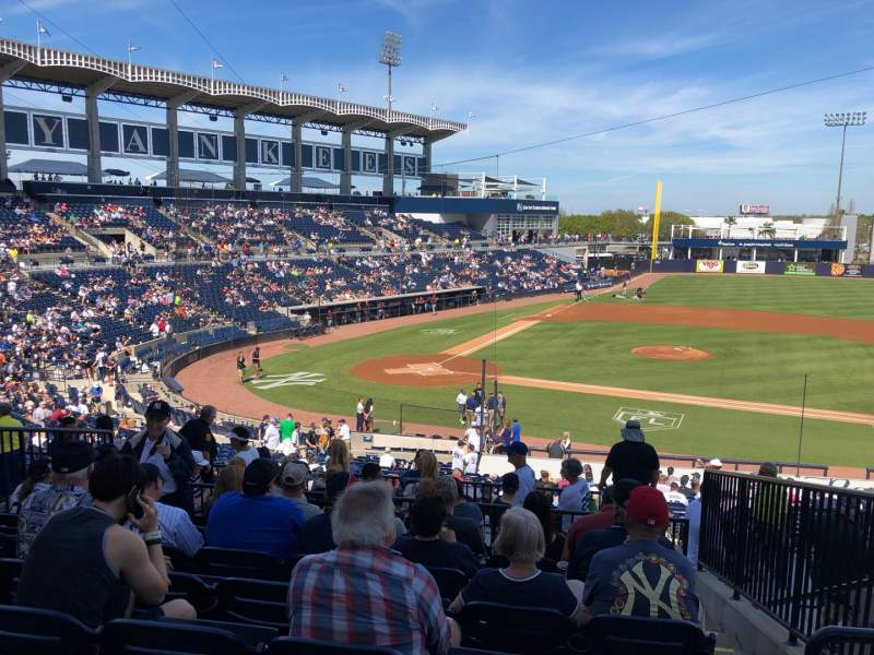 Seating view for George M. Steinbrenner Field Section 207 Row H Seat 3