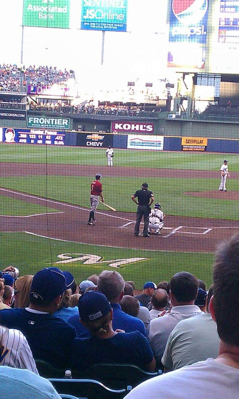 Seating view for Miller Park Section 117 Row 8 Seat 8