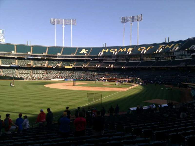 Seating view for Oakland Alameda Coliseum Section 130 Row 22 Seat 11
