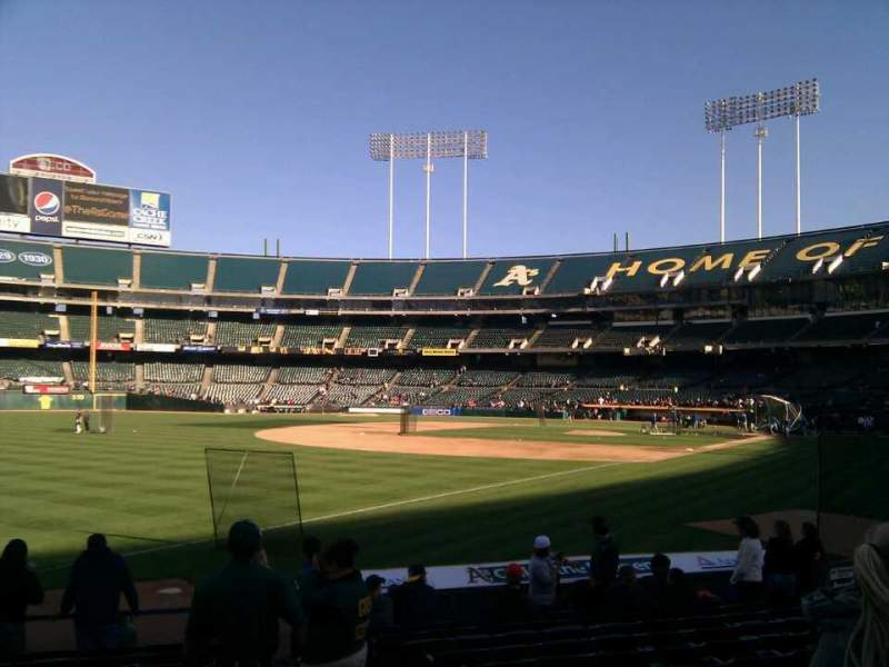 Seating view for Oakland Alameda Coliseum Section 129 Row 13 Seat 3