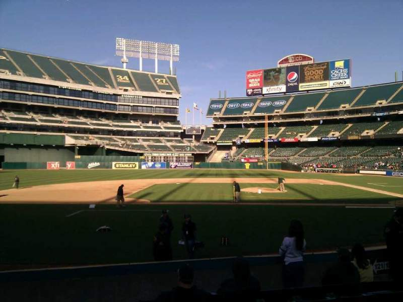 Seating view for Oakland Alameda Coliseum Section 121 Row 12 Seat 9
