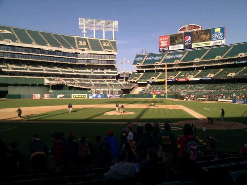 Seating view for Oakland Alameda Coliseum Section 120 Row 14 Seat 5