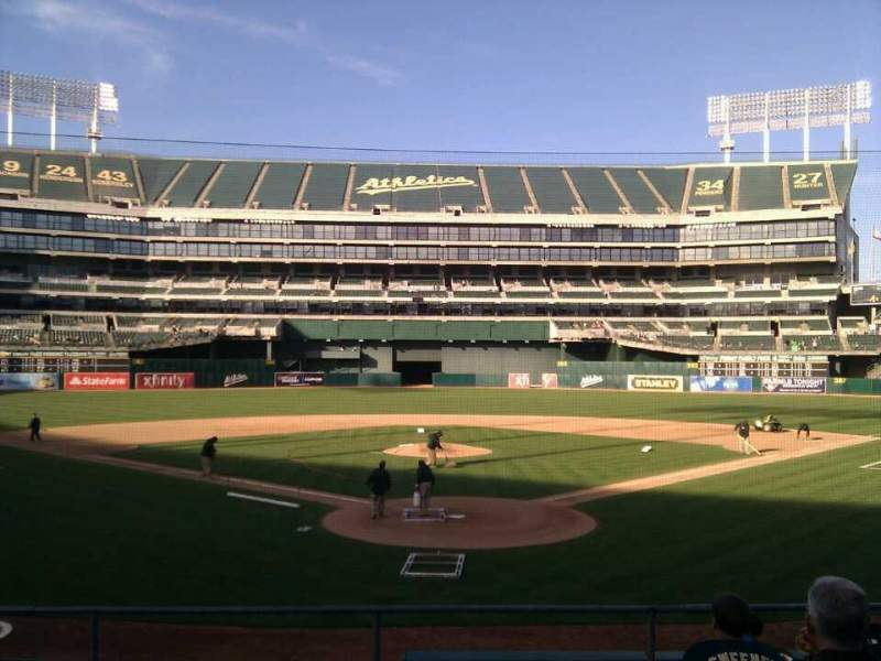 Seating view for Oakland Alameda Coliseum Section 117 Row 17 Seat 10