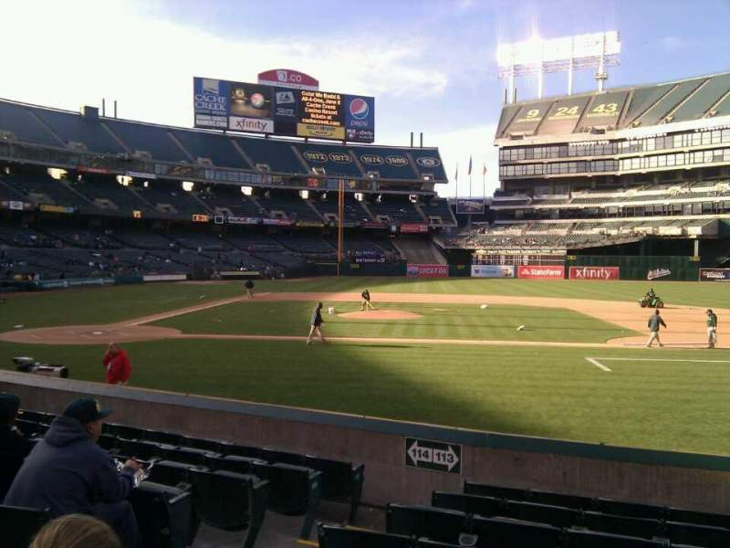 Seating view for Oakland Alameda Coliseum Section 113 Row 12 Seat 13