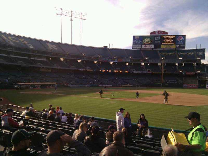 Seating view for Oakland Alameda Coliseum Section 109 Row 11 Seat 8