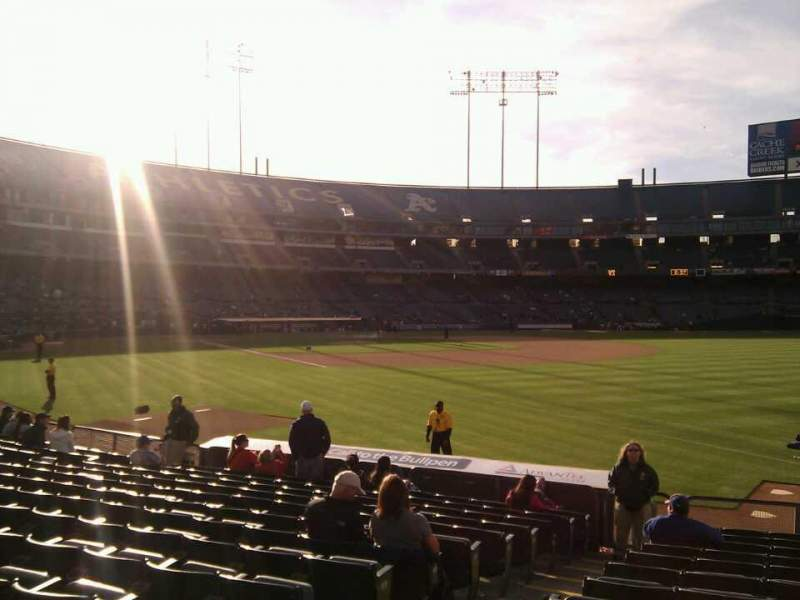 Seating view for Oakland Alameda Coliseum Section 105 Row 13 Seat 14