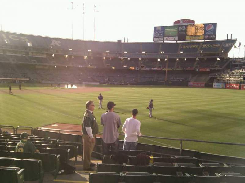 Seating view for Oakland Alameda Coliseum Section 104 Row 14 Seat 15