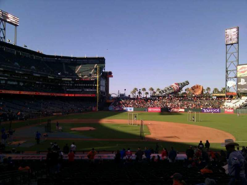 Seating view for AT&T Park Section 108 Row 27 Seat 6