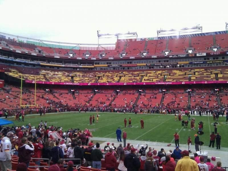 Seating view for FedEx Field Section 101 Row 14 Seat 10
