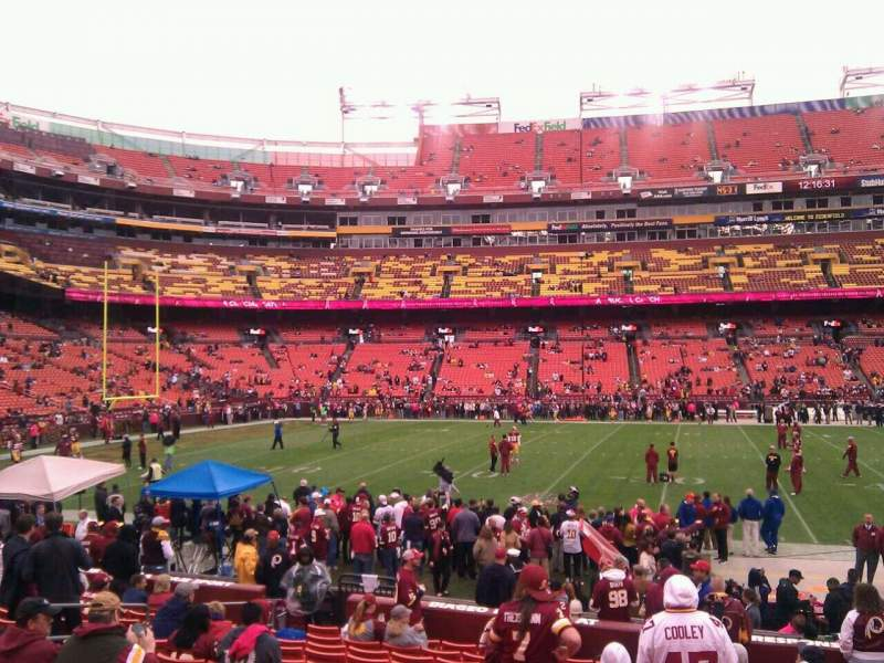 Seating view for FedEx Field Section 102 Row 14 Seat 10