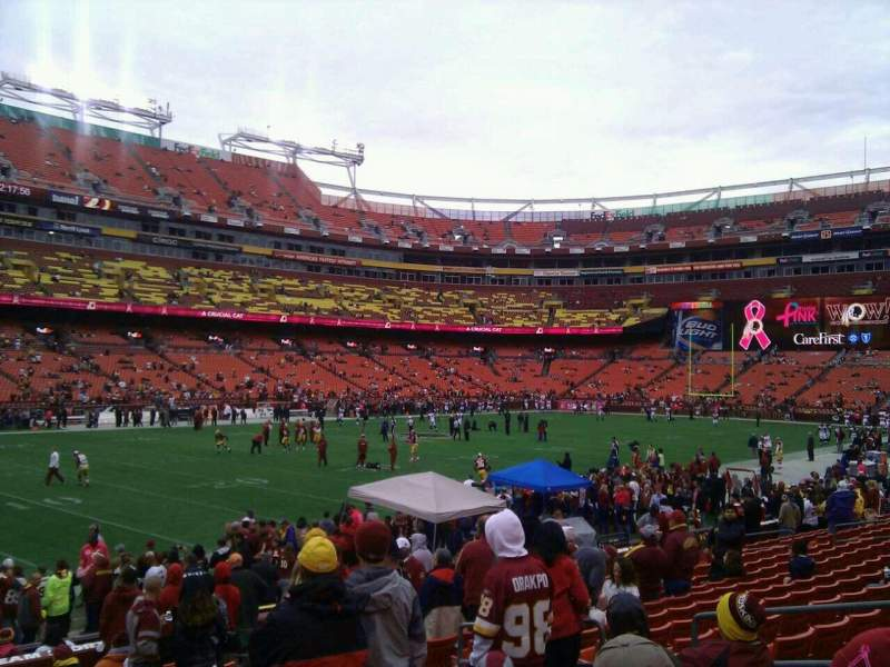 Seating view for FedEx Field Section 105 Row 14 Seat 10