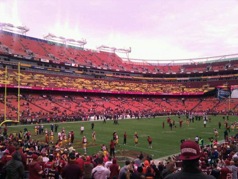 Seating view for FedEx Field Section 108 Row 16 Seat 10