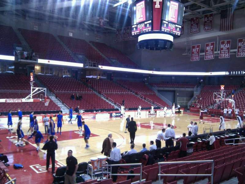 Seating view for Liacouras Center Section 105 Row l Seat 9