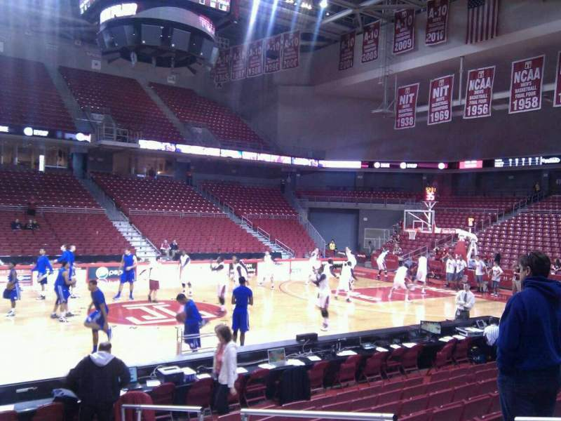 Seating view for Liacouras Center Section 104 Row k Seat 4