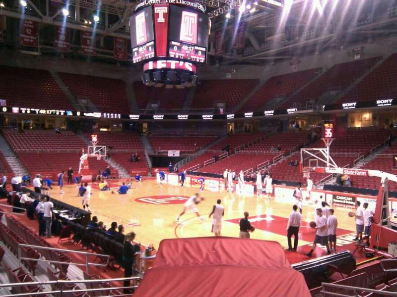 Seating view for Liacouras Center Section 120 Row l Seat 6