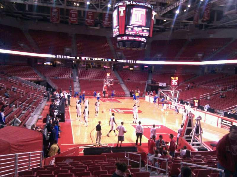 Seating view for Liacouras Center Section 119 Row q Seat 5