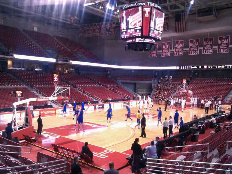 Seating view for Liacouras Center Section 106 Row n Seat 8