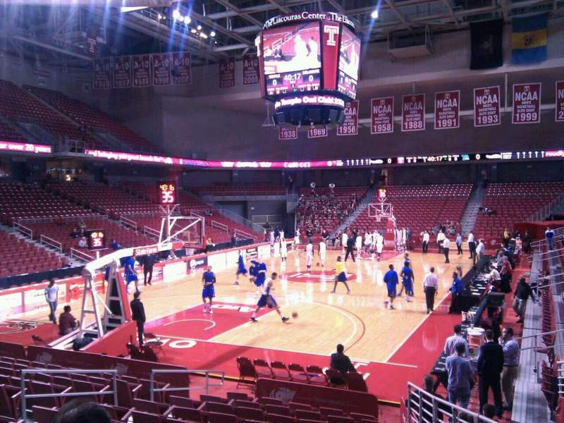 Seating view for Liacouras Center Section 107 Row n Seat 3